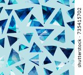 cold color triangles seamless... | Shutterstock .eps vector #735415702