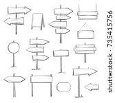 vector set of wooden signs.... | Shutterstock .eps vector #735415756