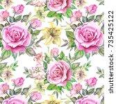 watercolor roses pattern   Shutterstock . vector #735425122