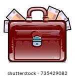 business briefcase full of... | Shutterstock .eps vector #735429082