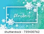 origami snowfall. merry... | Shutterstock .eps vector #735430762
