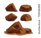 set of rock stones different... | Shutterstock .eps vector #735436585