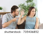 angry couple fighting sitting... | Shutterstock . vector #735436852