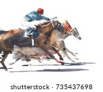 Stock photo horse race competition derby racing horses with jockeys watercolor painting illustration isolated 735437698
