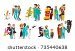 big set of doctors who fight... | Shutterstock .eps vector #735440638