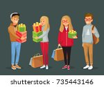 young people with christmas...   Shutterstock .eps vector #735443146