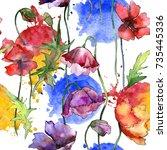 wildflower poppy flower pattern ... | Shutterstock . vector #735445336