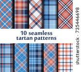 set of seamless tartan pattern | Shutterstock .eps vector #735446698