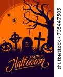happy halloween greeting card... | Shutterstock .eps vector #735447505