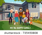 happy family portrait with... | Shutterstock .eps vector #735450808