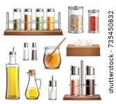 kitchen herbs and spices rack... | Shutterstock .eps vector #735450832