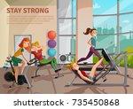 girls doing fitness on... | Shutterstock .eps vector #735450868
