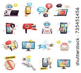 mail spam bot icons set of... | Shutterstock .eps vector #735451456