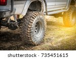 off road travel on mountain... | Shutterstock . vector #735451615