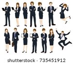 set cartoon business people... | Shutterstock .eps vector #735451912