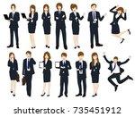 set cartoon business people... | Shutterstock .eps vector #735451912