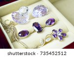a set of silver jewelry in a... | Shutterstock . vector #735452512