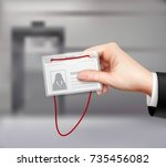 business id card with red cord... | Shutterstock .eps vector #735456082