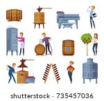winery production process... | Shutterstock .eps vector #735457036