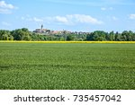 panoramic view of the old city... | Shutterstock . vector #735457042