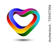 colorful impossible heart logo... | Shutterstock .eps vector #735457306