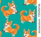 dog pattern. vector seamless... | Shutterstock .eps vector #735458746