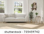 idea of white room with sofa... | Shutterstock . vector #735459742
