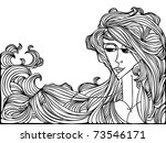 art style black contour drawing ... | Shutterstock .eps vector #73546171
