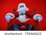 cool modern santa claus in... | Shutterstock . vector #735462622