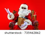 merry christmas and happy new... | Shutterstock . vector #735462862