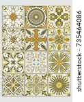 set of decorative tiles in... | Shutterstock .eps vector #735464086