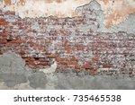 beige plastered brickwall with... | Shutterstock . vector #735465538