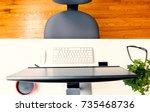 overhead view of an office desk ... | Shutterstock . vector #735468736