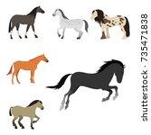 horse pony stallion isolated...   Shutterstock .eps vector #735471838