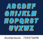 cartoon style colorful alphabet ... | Shutterstock . vector #735473698