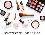 eye shadows and rouges beige ...   Shutterstock . vector #735474166