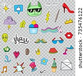 set of patches elements like... | Shutterstock . vector #735476122