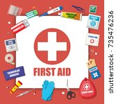first aid kit with medical... | Shutterstock .eps vector #735476236