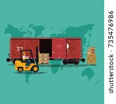 global freight railway delivery ... | Shutterstock .eps vector #735476986