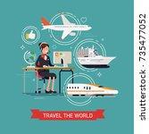 travel the world concept... | Shutterstock .eps vector #735477052