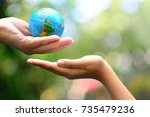 global model send to child hand ... | Shutterstock . vector #735479236