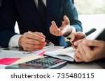asian business adviser meeting... | Shutterstock . vector #735480115