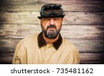 man with beard  bowler ...   Shutterstock . vector #735481162