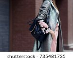 fashion photo  street style... | Shutterstock . vector #735481735