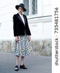 fashion photo  street style... | Shutterstock . vector #735481756