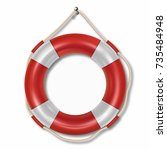 red lifebuoy ring isolated on... | Shutterstock .eps vector #735484948