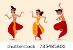 indian dancers in the posture... | Shutterstock .eps vector #735485602