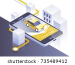 taxi service mobile application.... | Shutterstock .eps vector #735489412
