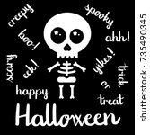 cute kawaii skeleton halloween... | Shutterstock .eps vector #735490345