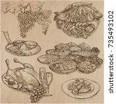 food menu. international... | Shutterstock .eps vector #735493102